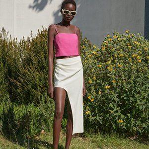 Zara S Asymmetric Skirt Natural Linen